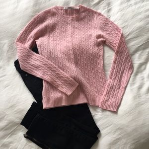 Autumn Cashmere pink cable knit sweater